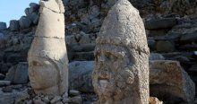 Kar kalktı Nemrut'un heykelleri yüzünü gösterdi