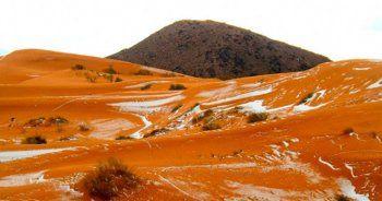 Sahra Çölü'ne 37 yıl sonra ilk kez kar yağdı!