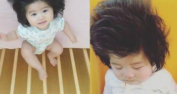 Japon bebek gür saçlarıyla sosyal medyada fenomen oldu