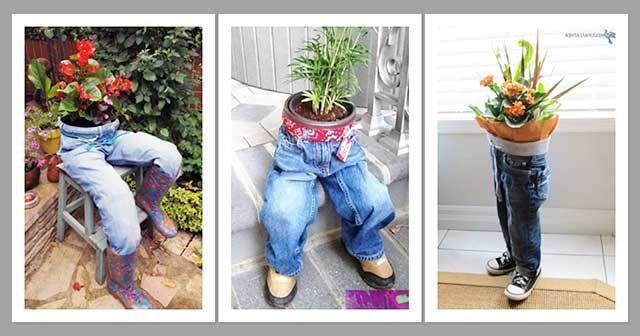 Kot Pantolondan Saksı Yapımı Kot Pantolondan Bahçe Süsü
