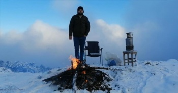 1764 rakımlı Ulus Dağı'nda kar keyfi