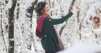 Kar yeniden yağdı! Kartpostallık görüntüler oluştu