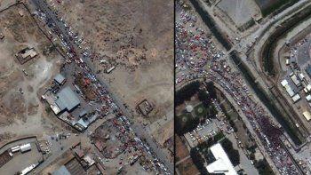Kabil Havalimanı'ndaki yoğunluk uydu görüntülerinde