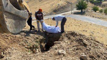 Elazığ'da yola saçılan kemikler toplanıp yeniden gömüldü