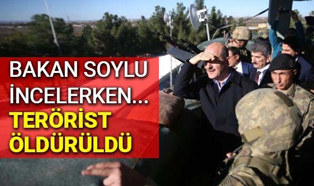 Bakan Soylu'nun Suriye sınırındaki incelemesi sırasında bir terörist öldürüldü