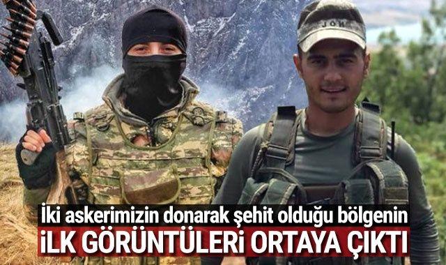 Tunceli'de iki askerimizin donarak şehit olduğu bölgeden ilk görüntü ortaya çıktı
