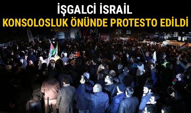 İşgalci İsrail, İstanbul Başkonsolosluğu önünde protesto edildi