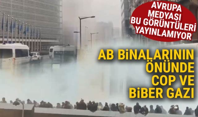 Brüksel'de polisten eylemcilere müdahale