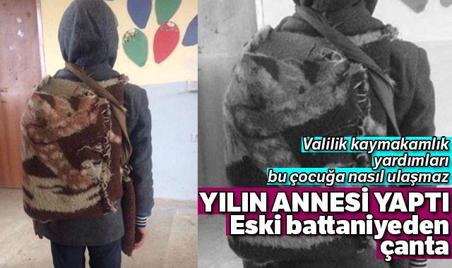 Küçük çocuğun okul çantası görenlerin vicdanını sızlattı