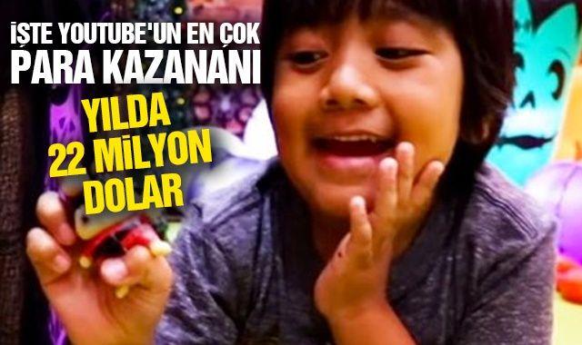 YouTube'un en çok para kazananı 8 yaşındaki Ryan: Yılda 22 milyon dolar
