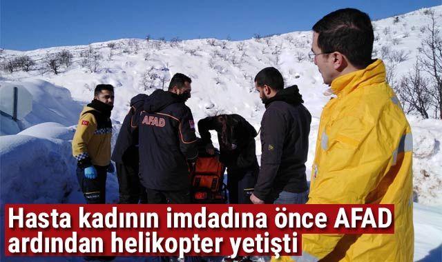 Hasta kadına önce AFAD ile sağlık ekibi ardından helikopter yetişti
