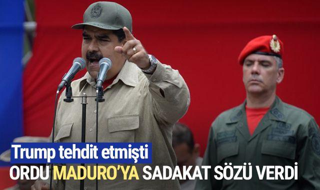 Trump tehdit etmişti! Venezuela ordusu Maduro'ya sınırsız sadakat sözü verdi