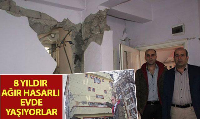 8 yıldır ağır hasarlı evde yaşıyorlar
