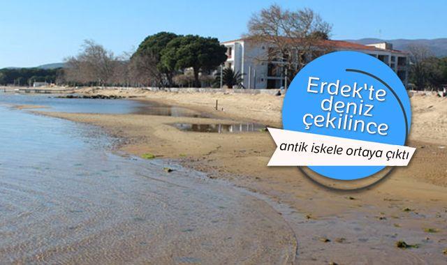 Erdek'te deniz çekilince antik iskele ortaya çıktı