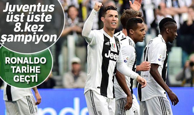 Juventus üst üste 8. kez şapiyon oldu! Ronaldo tarihe geçti