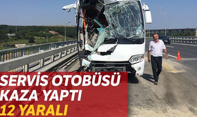 İstanbul Kemerburgaz'da servis otobüsü kaza yaptı