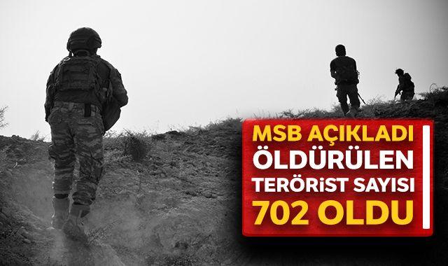 Barış Pınarı Harekatı'nda etkisiz hale getirilen terörist sayısı 702 oldu