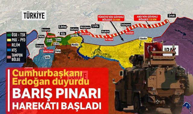 Cumhurbaşkanı Erdoğan duyurdu: Fırat'ın doğusuna Barış Pınarı Harekatı başladı