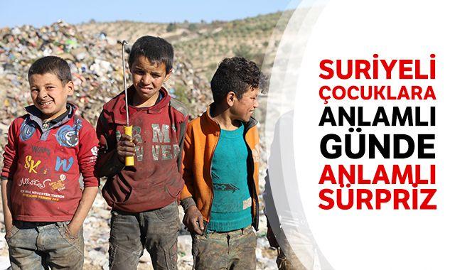 Suriyeli çocuklara anlamlı günde anlamlı sürpriz