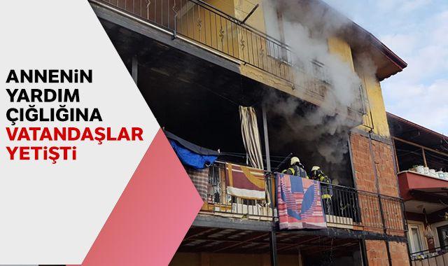 Anne ve 4 çocuk yangından son anda kurtarıldı