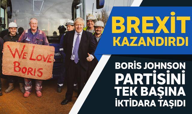 Boris Johson partisini tek başına iktidara taşıdı