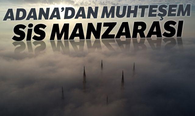 Merkez Camii'nde sis manzarası etkiledi