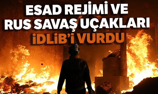 Esad rejimi ve Rus savaş uçakları İdlib'i vurdu