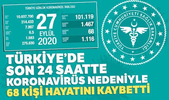 Türkiye'de koronavirüsten bugün 68 kişi hayatını kaybetti