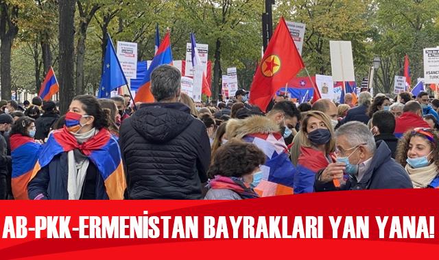 AB-PKK-Ermenistan bayrakları yan yana