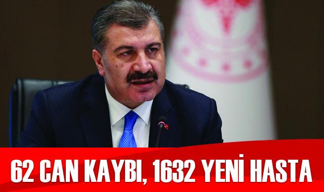 Türkiye'de koronavirüste son durum: 1632 yeni hasta, 62 can kaybı
