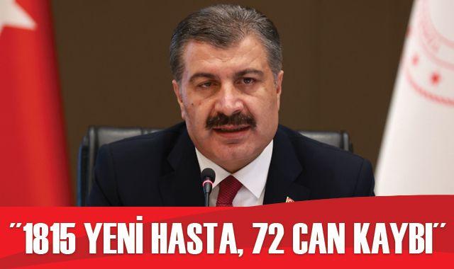 Türkiye'de koronavirüste son durum: 1815 yeni hasta, 72 can kaybı
