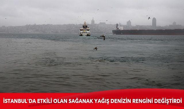 İstanbul'da etkili olan sağanak Üsküdar'da denizin rengini değiştirdi