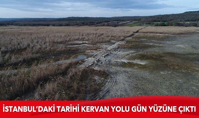 Sular çekildi, İstanbul'daki tarihi kervan yolu gün yüzüne çıktı
