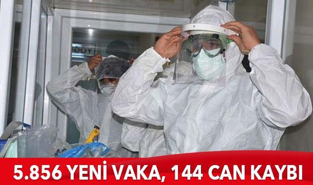 Türkiye'de son 24 saatte 5856 yeni vaka tespit edildi, 144 kişi hayatını kaybetti