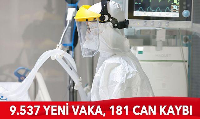 Türkiye'de son 24 saatte 9537 yeni vaka tespit edildi, 181 kişi hayatını kaybetti