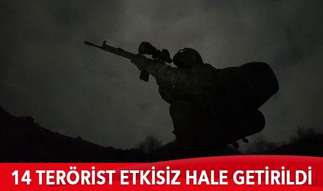 Barış Pınarı ve Fırat Kalkanı bölgelerinde 14 terörist etkisiz hale getirildi
