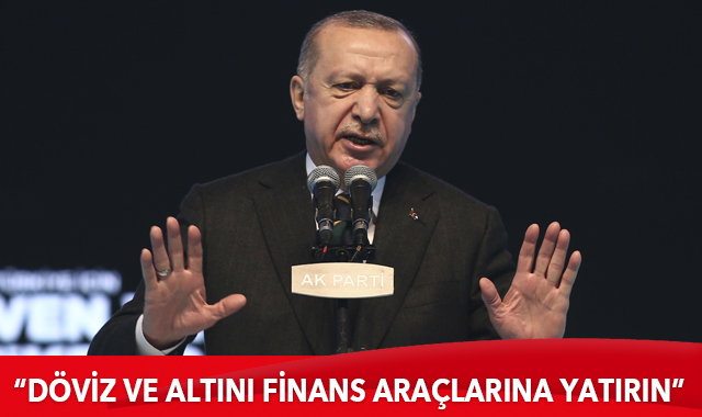 Erdoğan: Evlerinizdeki döviz ve altını finans araçlarına yatırın