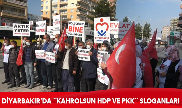 """Evlat nöbetindeki ailelerden """"Kahrolsun HDP ve PKK"""" sloganları"""