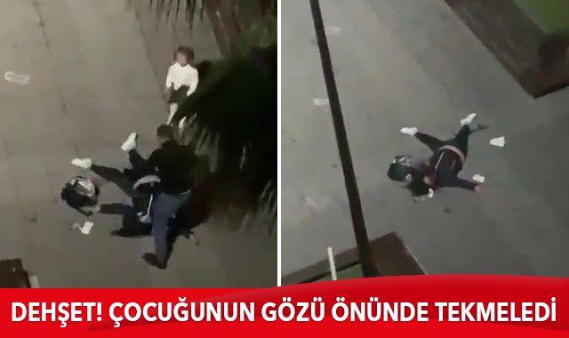 Samsun'da dehşet: Çocuğunun gözü önünde eski eşini defalarca tekmeledi