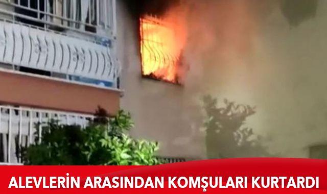 Antalya'da ev yangını: Yaşlı çifti komşuları kurtardı