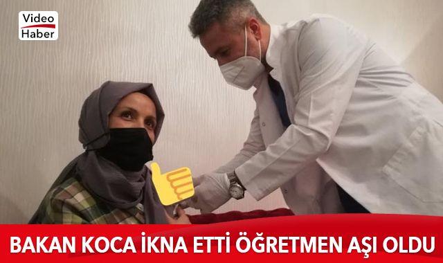 Bakan Fahrettin Koca ikna etti Anaokulu öğretmeni aşısını oldu