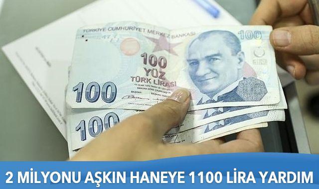 2 milyonu aşkın haneye 1100 lira yardım