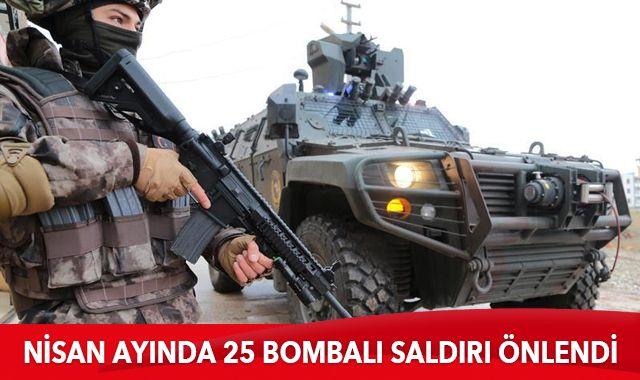Nisan ayında 25 bombalı saldırı önlendi