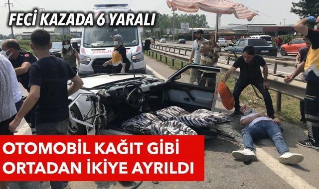 Feci kaza! Otomobil kağıt gibi ortadan ikiye bölündü: 6 kişi yaralandı