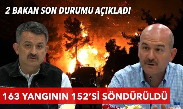 Pakdemirli ve Soylu yangınlarda son durumu açıkladı