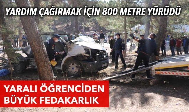 Yaralı öğrenci kazayı 800 metre uzaktaki köydekilere haber vermiş