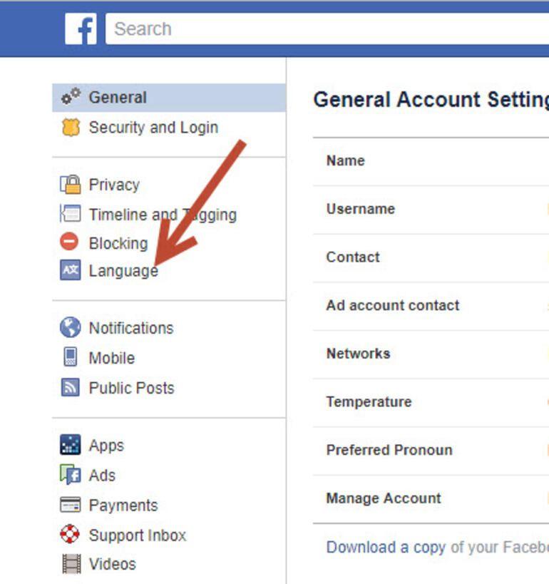 Facebook mobil ve desktop İngilizce ayarlarını Türkçe yapma