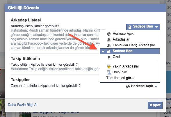 facebook takip listesi gizleme
