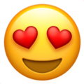 Kalp şeklinde gülen aşk emojisi