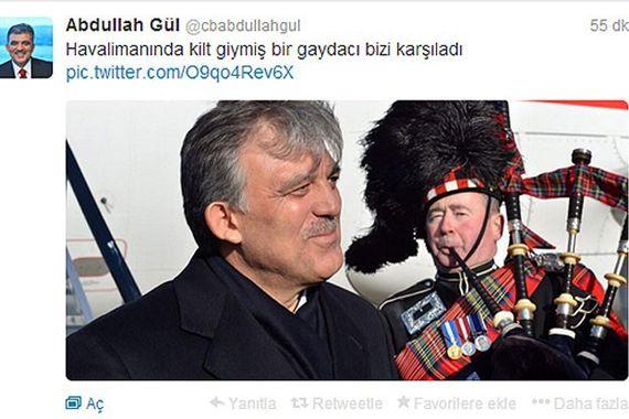 Gül, İskoçya ziyaretinin detaylarını Twitter'da paylaştı